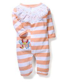 Babyhug Full Sleeves Romper Stripes Pattern - Peach