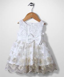 Beautiful Girl Flower Print Frock With Bow - White