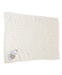 1st Step Baby Blanket Elephant Embroidery - Yellow