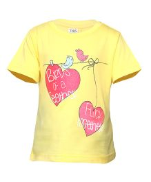 Tales & Stories Half sleeves Top Bird Print - Yellow
