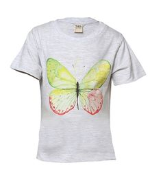 Tales & Stories Half sleeves Top Butterfly Print - Grey