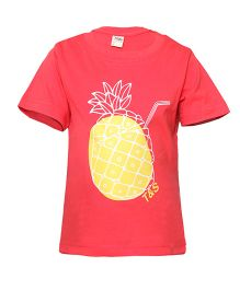 Tales & Stories Half Sleeves Top Pineapple Print - Red
