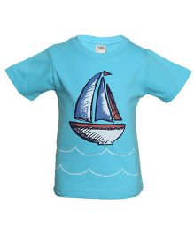 Tales & Stories Half sleeves T-Shirt Boat Print - Light Blue