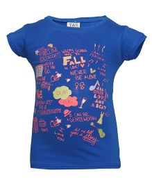 Tales & Stories Half Sleeves Top Graphic Print - Blue