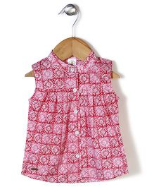 Bee Born Floral Pattern Dress - Red & White