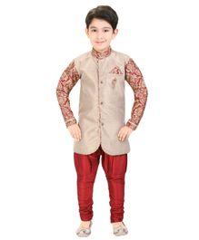 Shree Shubh Full Sleeves Kurta and Payjama Set - Beige and Red