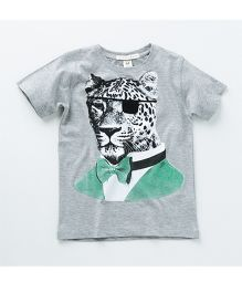 MilkTeeth Leopard Print T-Shirt - Light Grey