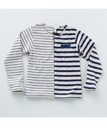 MilkTeeth Twin Henley Stripe T-Shirt - Navy & White