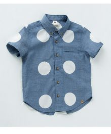 MilkTeeth Big Polka Dot Shirt - Blue