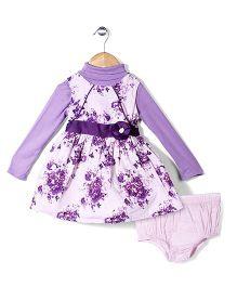 Nauti Nati Frock With Full Sleeves Inner Tee & Bloomer Floral - Lavender