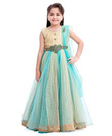 Betty by Tiny Baby Evening Gown - Cream & Aqua Blue