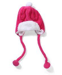 Babyhug Tie Knot Cap With Pom Pom - Dark Pink