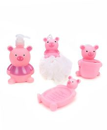 Bathroom Set Piggy Design Pack Of 4 - Pink and White