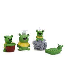 Bathroom Set Frog Design 4 Pieces - Green