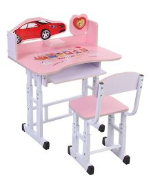 Study Table And Chair With Clock Car Design - Pink