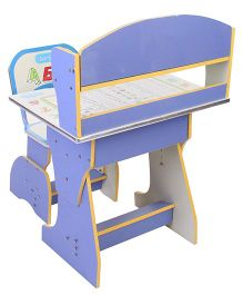 Kids Study Table With Chair Alphabet Print -  Blue And Cream