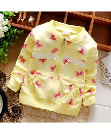Lilpicks Couture Bow Print Cardigan - Yellow