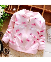Lilpicks Couture Bow Print Cardigan - Pink