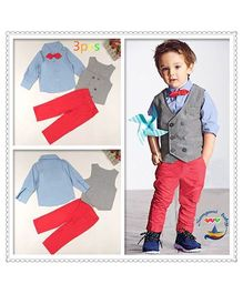 Tickles 4 U Gentleman Three Piece Set - Grey & Red