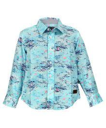Bells and Whistles Full Sleeves Printed Shirt - Aqua Blue