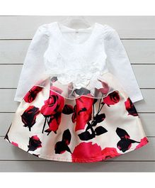 Little Muffet Full Sleeve Floral Party Dress - White & Red
