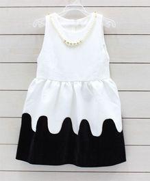 Little Muffet Sleeveless Party Dress - White & Black
