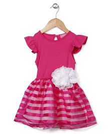 Little Muffet Stripe Party Dress With Flower - Pink