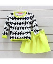 Little Muffet Star Print Top And Skirt Set - White & Lemon Green