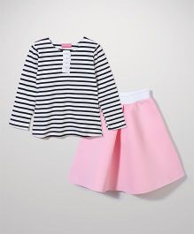 Little Muffet Stripe Top And Skirt Set - Pink & White