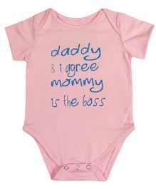 Blue Bus Store Daddy I Agree Mommy Is The Boss Print Onesie - Pink