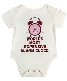 Blue Bus Store Alarm Clock Print Onesie - White