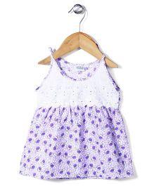 Babyhug Singlet Frock Cherry Print - Purple