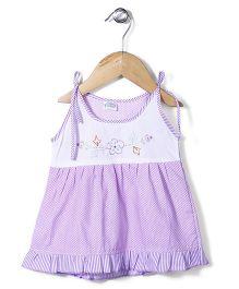Babyhug Singlet Frock Floral Embroidery - Purple