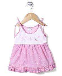 Babyhug Singlet Frock Floral Embroidery - Pink