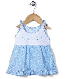 Babyhug Singlet Frock Floral Embroidery - Sky Blue