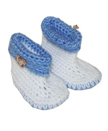 Kadambaby Crochet Woolen Booties - Blue And White