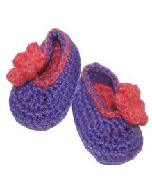 Kadambaby Crochet Woolen Booties - Purple And Red