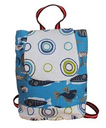 Kadambaby Sea World Print Drawstring Schoolbag - Blue And White