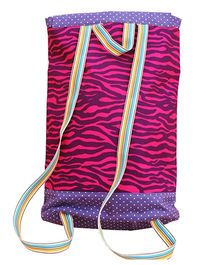 Kadambaby Zebra Print Drawstring Schoolbag - Pink And Purple