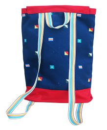 Kadambaby Sailor Theme Drawstring Schoolbag - Red And Blue