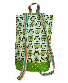 Kadambaby Owl Print Drawstring Schoolbag - Green
