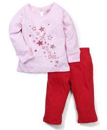 Babyhug Full Sleeves Top And Leggings Star Print - Pink Red