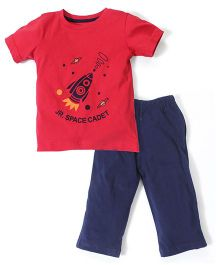 Babyhug Half Sleeves T-Shirt And Leggings Space Cadet Print - Red Navy