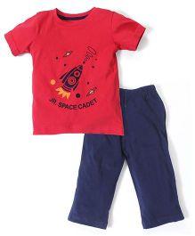 Babyhug Half Sleeves T-Shirt And Leggings Space Cadet Print - Red Navy