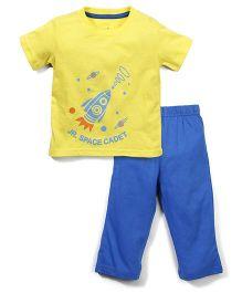 Babyhug Half Sleeves T-Shirt And Leggings Space Cadet Print - Yellow Blue