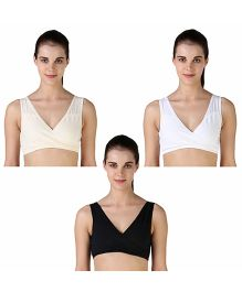 Morph Pull On Leak Proof Maternity Bra Pack of 3 - Black and White