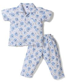 Teddy Half Sleeves Night Suit Bear Print - White And Blue