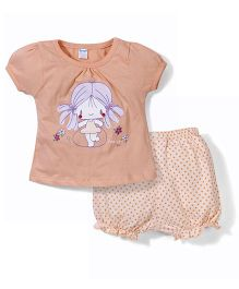 Tango Cap Sleeves Top And Bloomers Set Jumping Girl Print - Peach