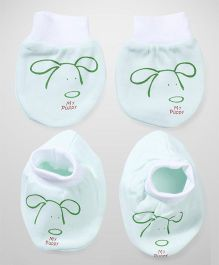 Simply Booties And Mittens Set Puppy Print - Green