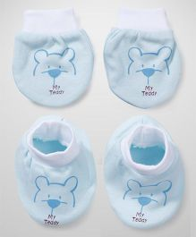 Simply Booties And Mittens Set Teddy Print - Sky Blue